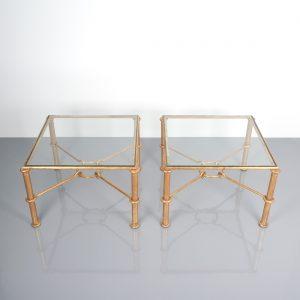 Rene Drouet pair tables gold iron