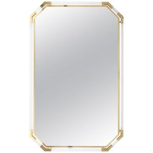 Guy Lefevre for Maison Jansen Very Large Lucite and Brass Mirror