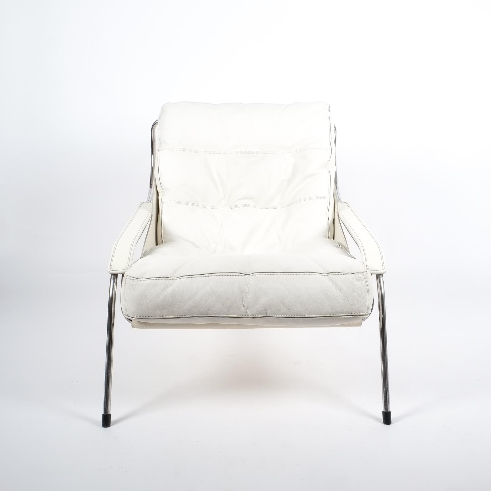 Marco Zanuso Maggiolina White Leather Chair by Zanotta 1947