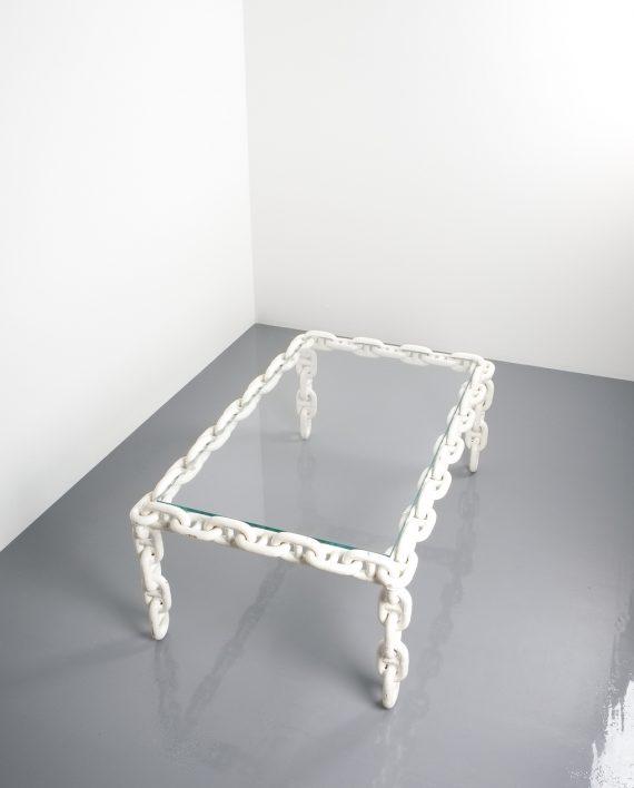 Chain link coffee table iron white enameled large belgium
