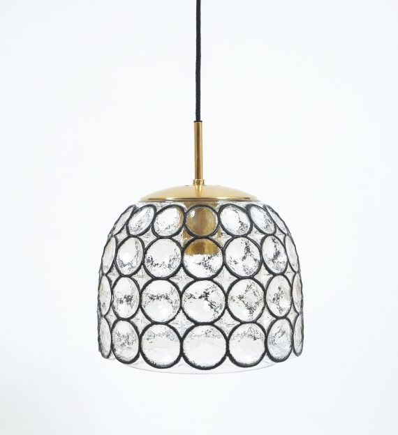 Limburg Glass and Brass Pendant Lamp Light, Germany 1960