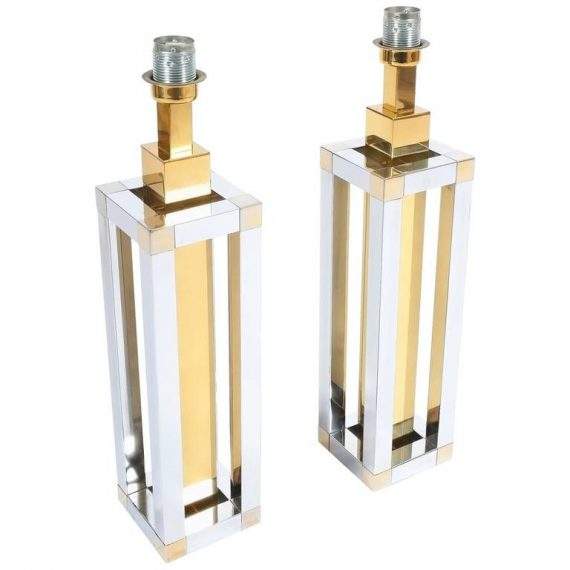 Romeo Rega Chrome and Brass Table Lamps