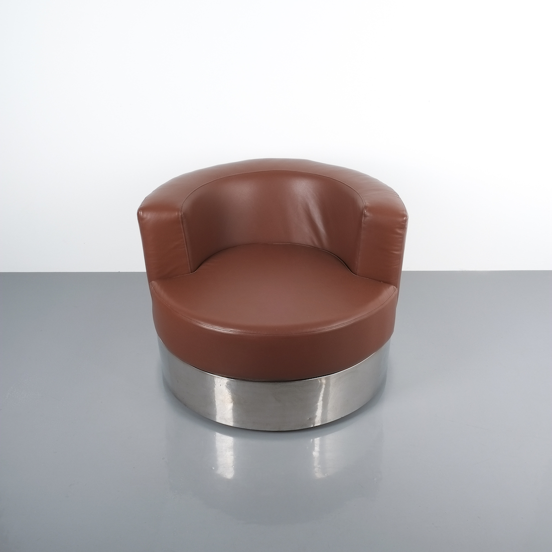 Franco Fraschini Brown Leather Chair For Driade Italy 1965