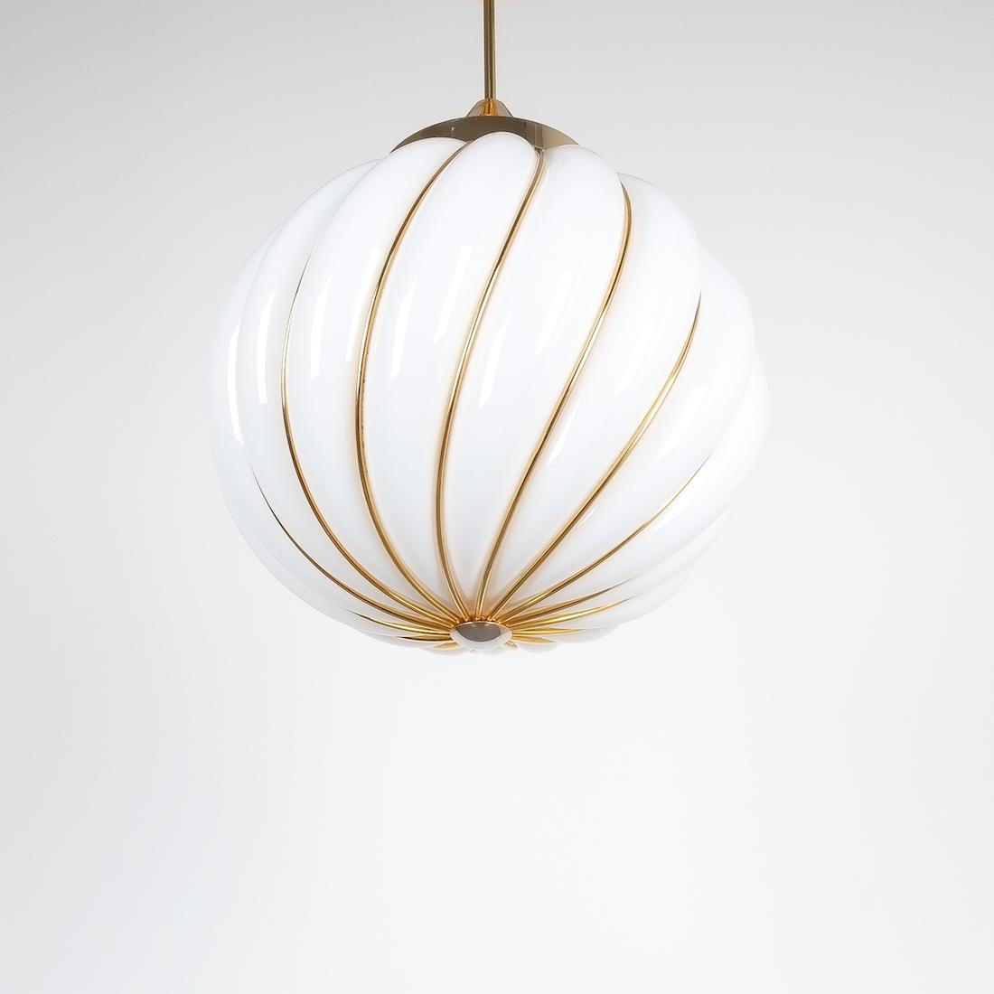 Josef Hoffmann Pair Of Pendant Lamps Opal Glass Gold Austria