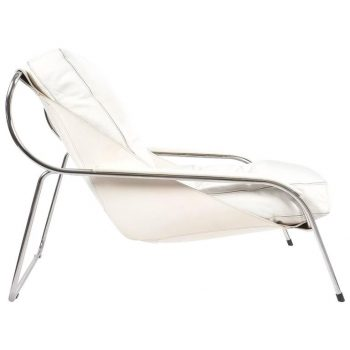Marco Zanuso Maggiolina White Leather Chair by Zanotta, 1947