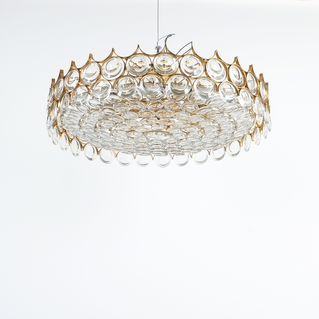 Palwa Xxl Refurbished Gold Plated Brass And Glass Semi Flush Mount