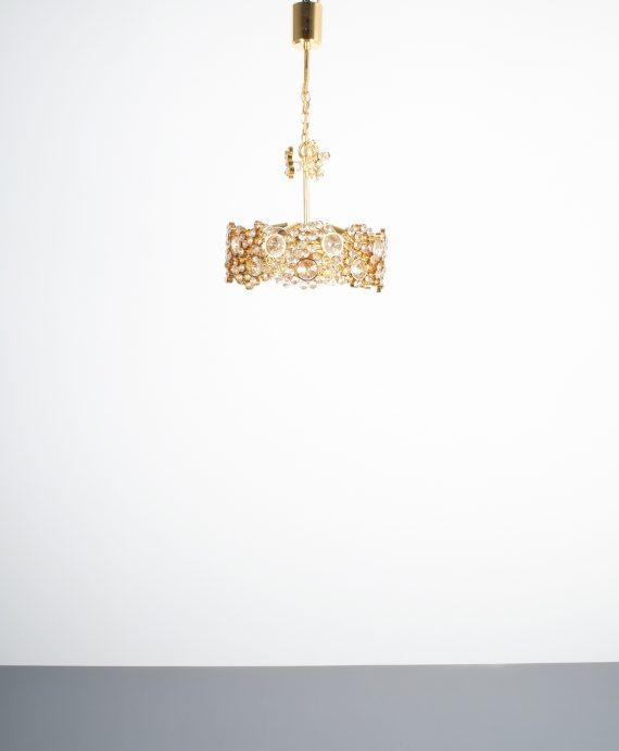 Palwa encrusted Brass glass chandelier _03