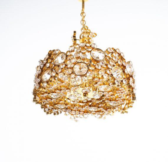 Palwa encrusted Brass glass chandelier _04