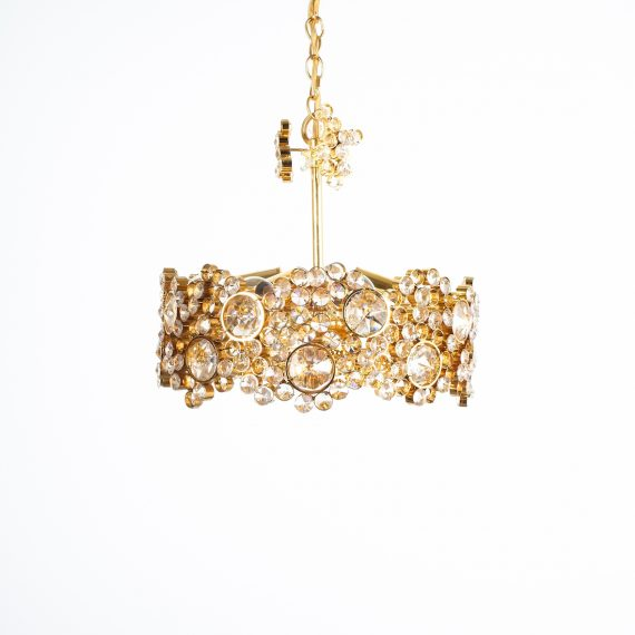 Palwa encrusted Brass glass chandelier _05