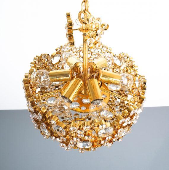 Palwa encrusted Brass glass chandelier _06