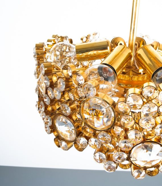 Palwa encrusted Brass glass chandelier _07