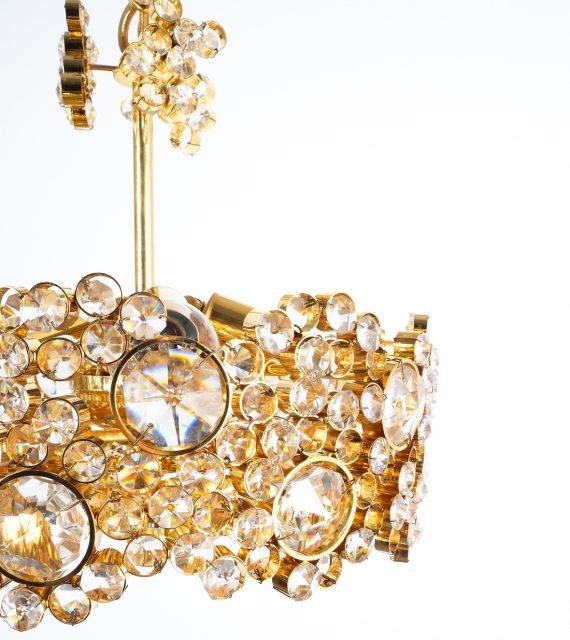 Palwa encrusted Brass glass chandelier _08