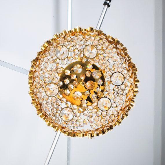 Palwa encrusted Brass glass chandelier _09