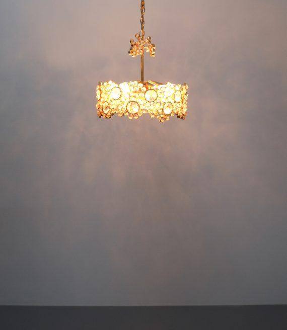 Palwa encrusted Brass glass chandelier _10