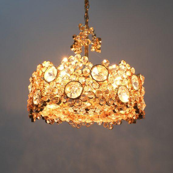 Palwa encrusted Brass glass chandelier _11