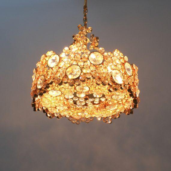 Palwa encrusted Brass glass chandelier _12