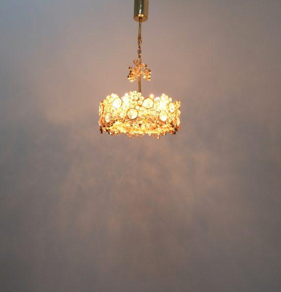 Palwa encrusted Brass glass chandelier _13