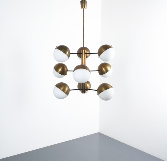 Stilnovo brass opaline chandelier_05