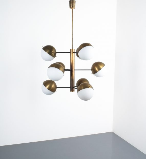 Stilnovo brass opaline chandelier_06