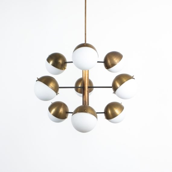 Stilnovo brass opaline chandelier_07