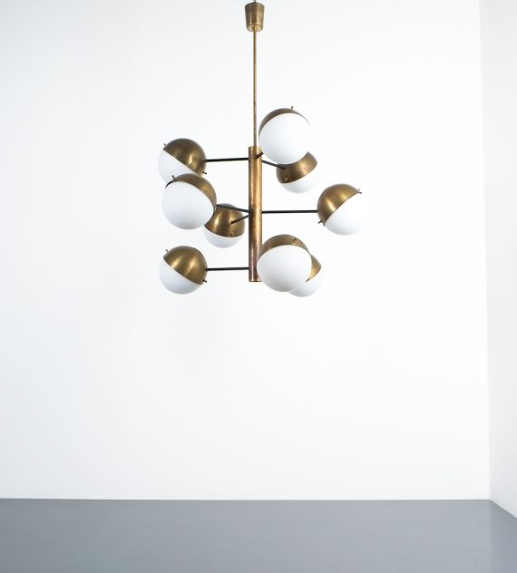 Stilnovo brass opaline chandelier_08