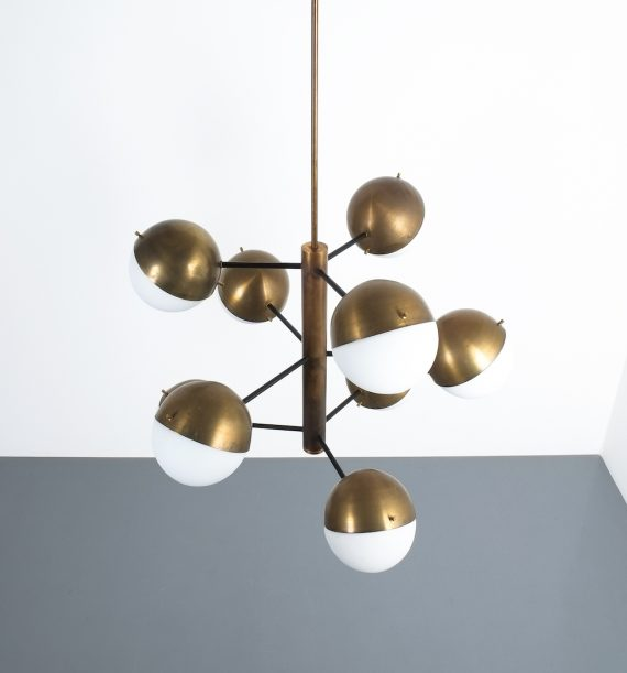 Stilnovo brass opaline chandelier_11