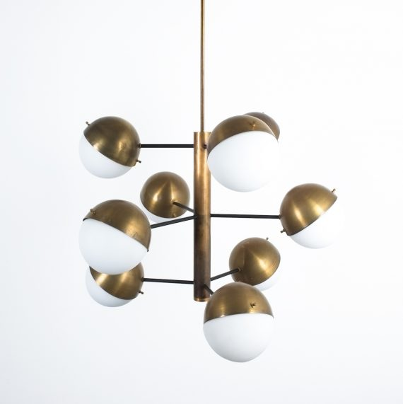 Stilnovo brass opaline chandelier_12