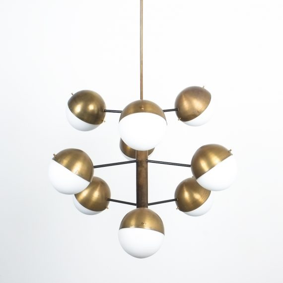 Stilnovo brass opaline chandelier_15