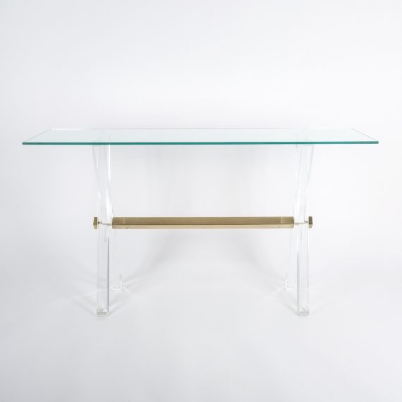 X console table lucite brass_03