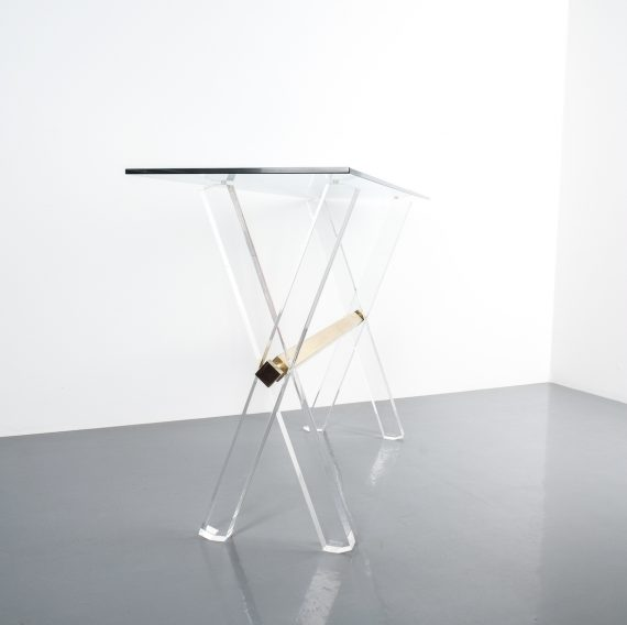 X console table lucite brass_08