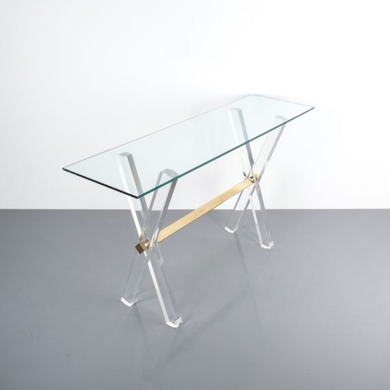 X console table lucite brass_09