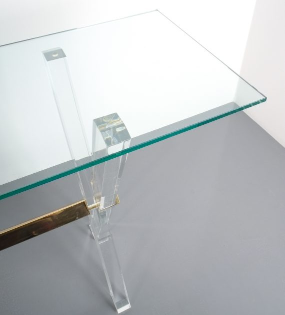 X console table lucite brass_11