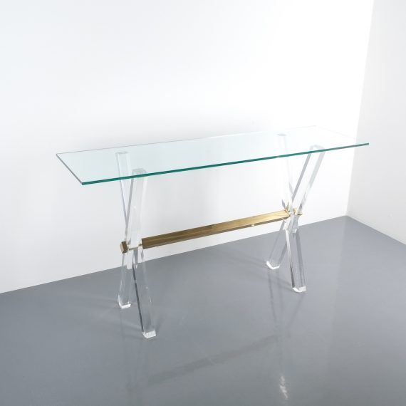 X console table lucite brass_13