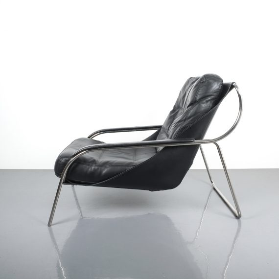 Zanuso Maggiolina Black Leather Chair_02 Kopie