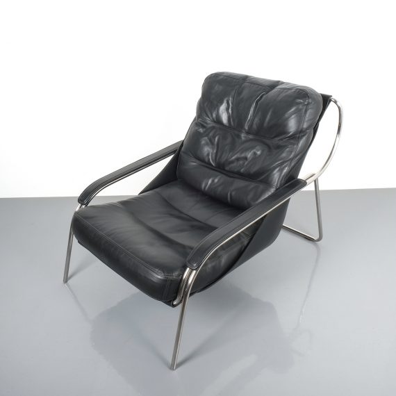 Zanuso Maggiolina Black Leather Chair_03 Kopie