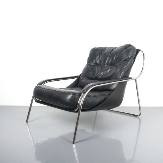 Zanuso Maggiolina Black Leather Chair_04 Kopie
