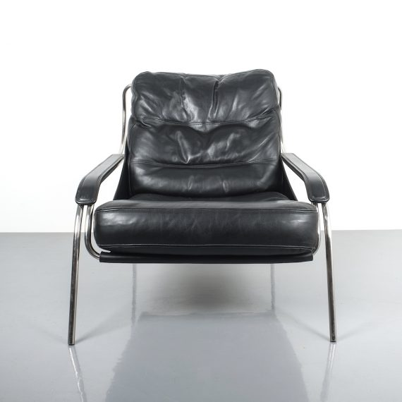 Zanuso Maggiolina Black Leather Chair_08 Kopie