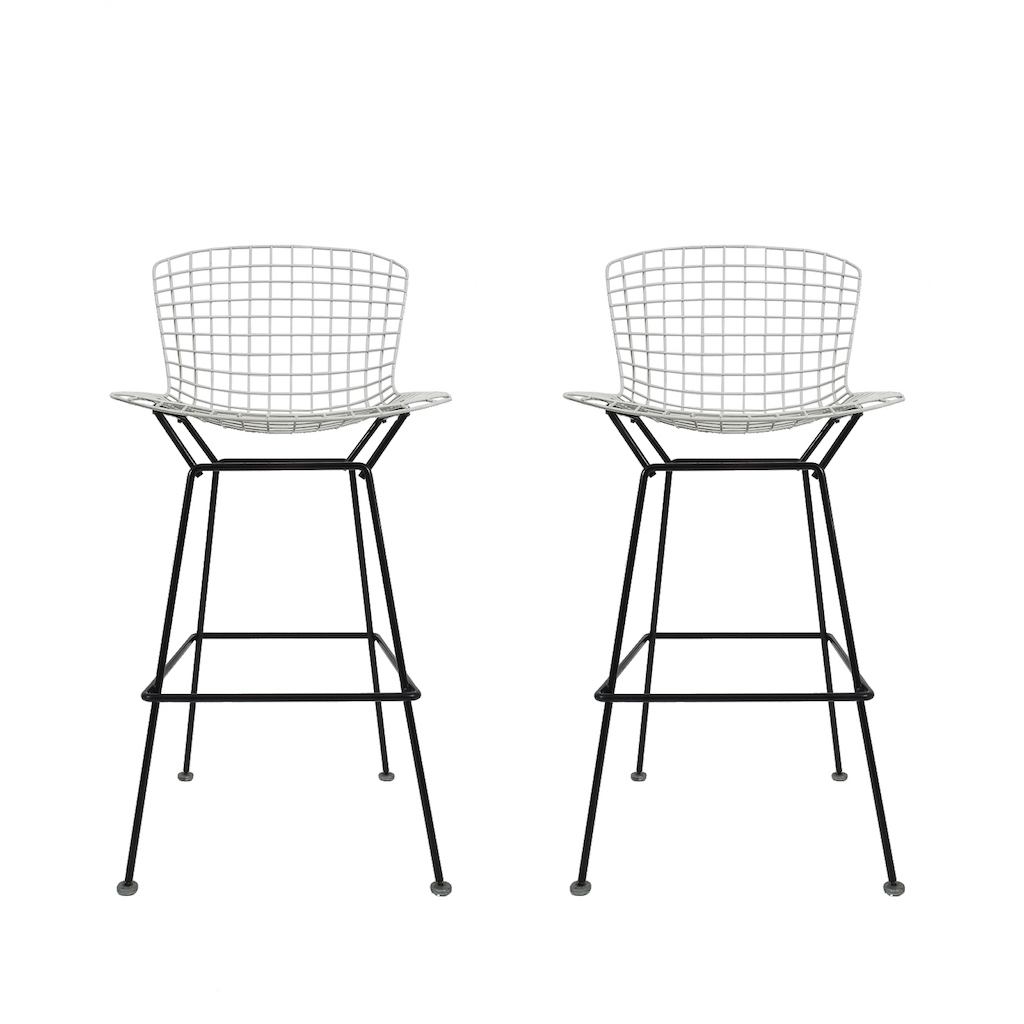 Harry bertoia 4 vintage black and white bar stools for Bertoia stoel