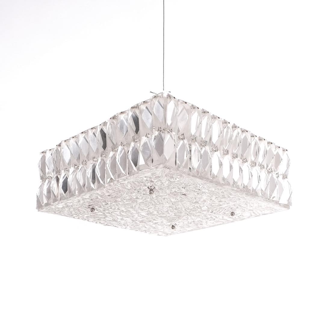 Kalmar Square Textured Glass Flush Mount Ceiling Lamp