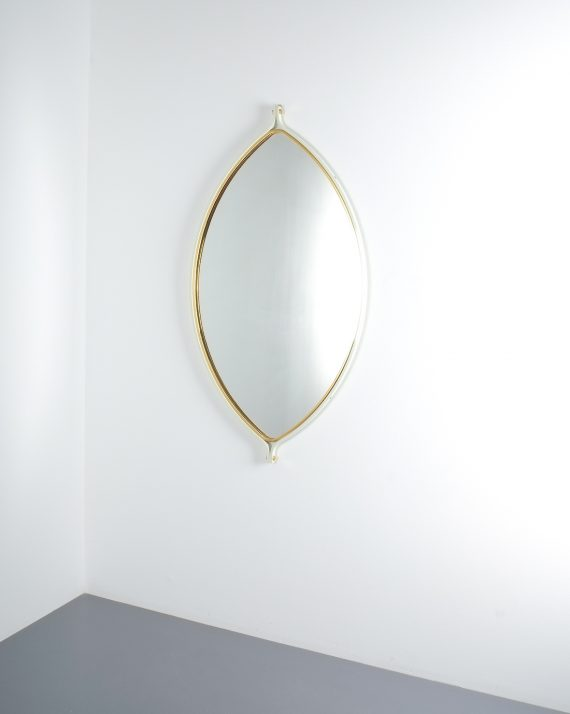 lense shaped mirror brass italy 1970 _01