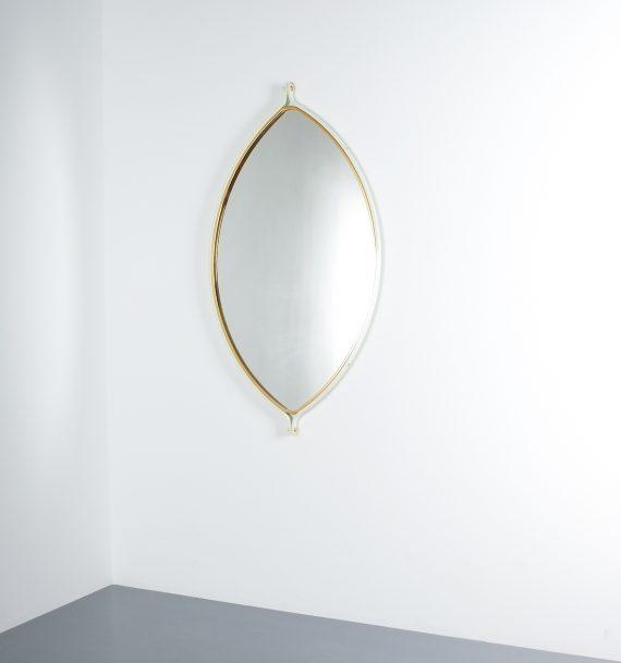 lense shaped mirror brass italy 1970 _02