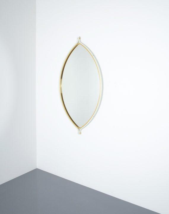 lense shaped mirror brass italy 1970 _06