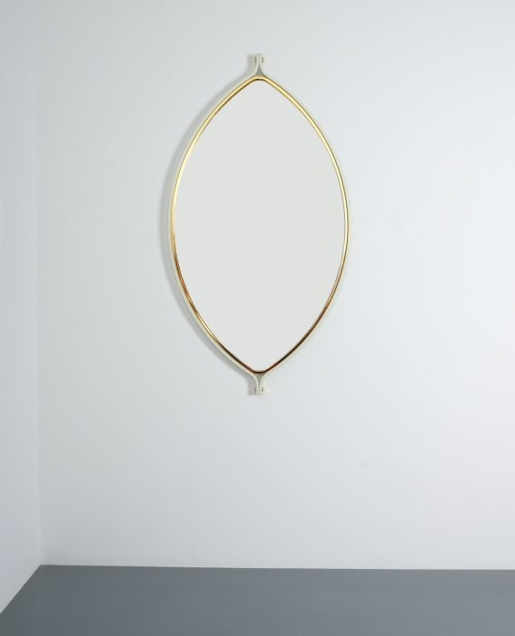 lense shaped mirror brass italy 1970 _07
