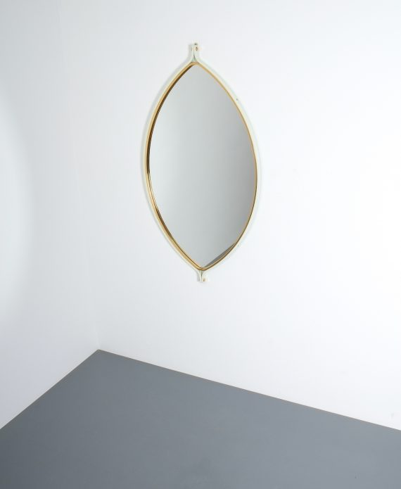 lense shaped mirror brass italy 1970 _08