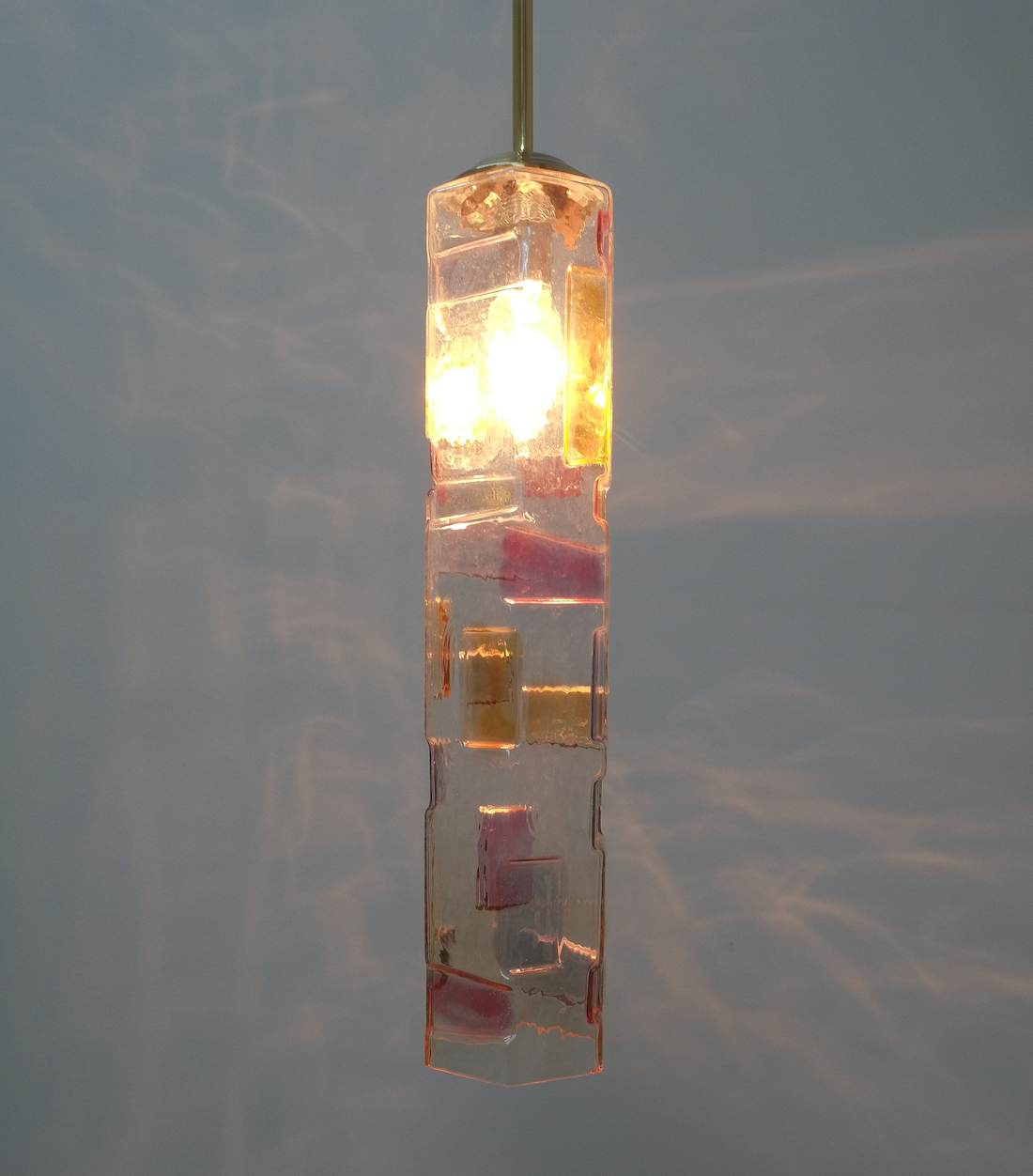 Poliarte style pair of colored glass pendant lamps italy circa 1955