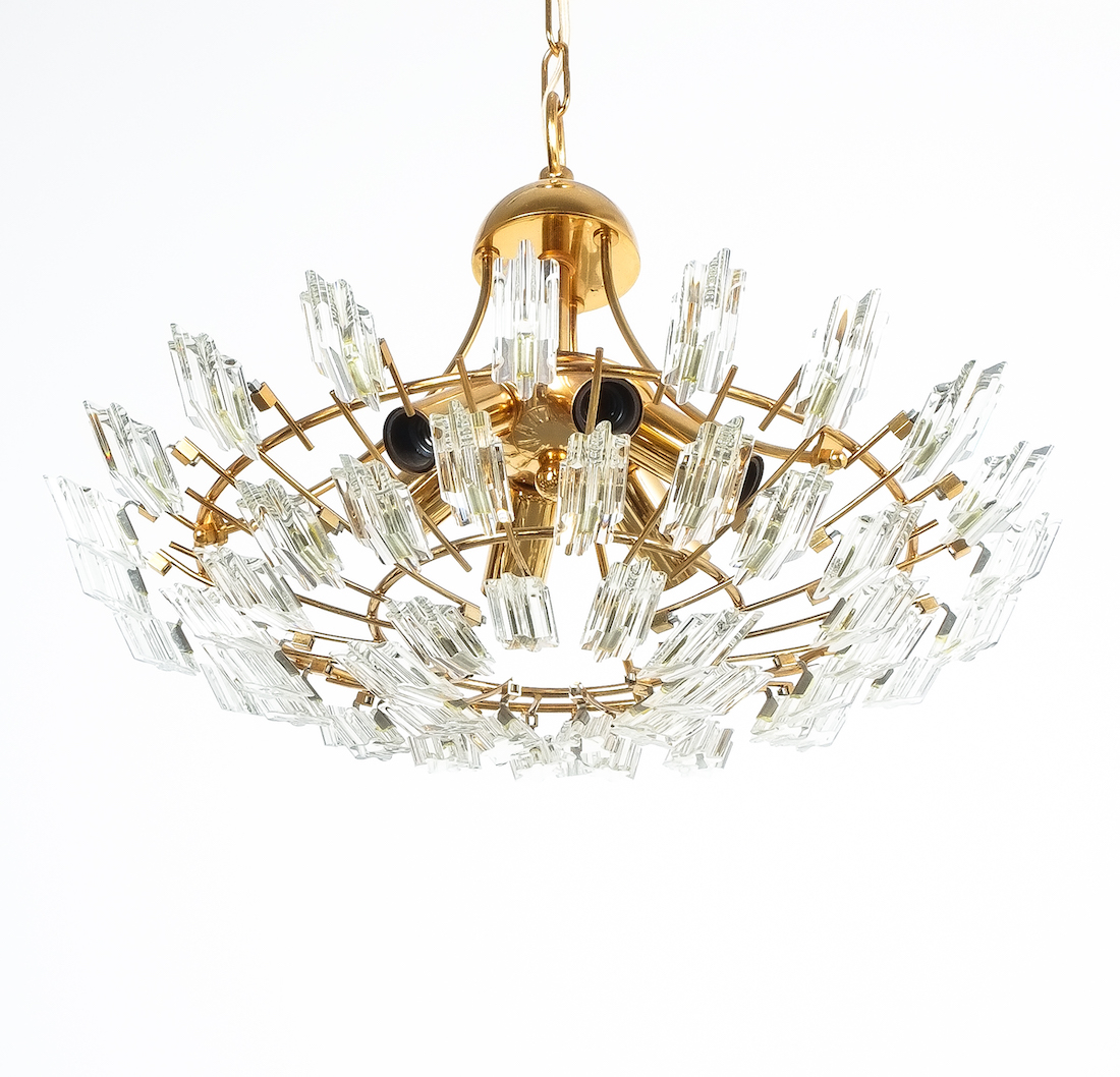 Stilkrone Italian Crystal Glass And Gilded Brass Flush Mount