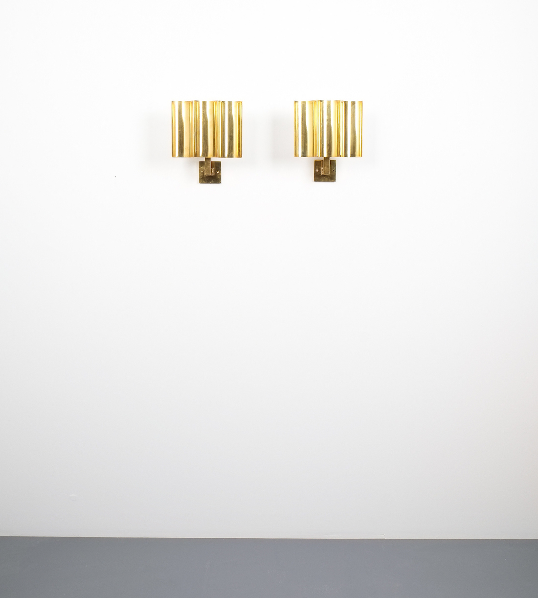 Art deco style artisan solid brass wall lamps sconces france 1950 art deco wave sconces aloadofball Choice Image